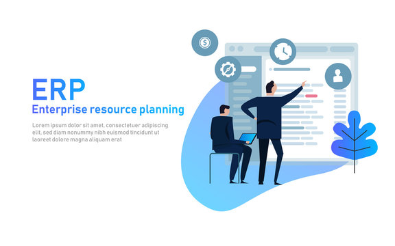 IT manager on ERP Enterprise Resource Planning screen with business intelligence, production, HR and CRM modules