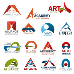 Letter A corporate brand identity icons