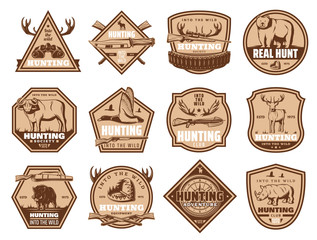 Wild animals vector icons and hunting equipment