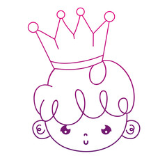 degraded outline cute boy head with hairstyle and crown