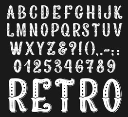 Vector vintage retro font letters and numbers