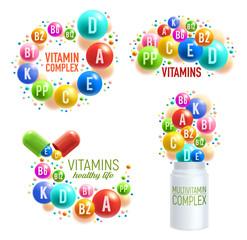 Vitamin pills and multivitamin complex capsules