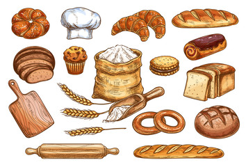 Bakery bread and pastry cakes vector sketch