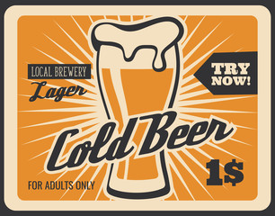 Brewery bar cold beer retro vector poster