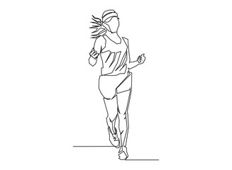 continuous line drawing of jogging.run concept, fitness, sports, health,