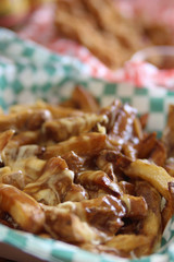 Canadian poutine with cheese melting over fries with beef gravy