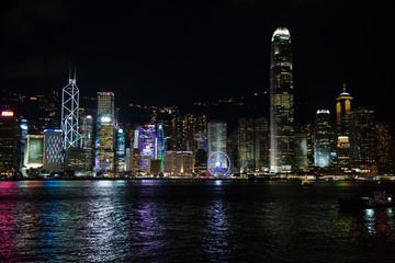 Hong Kong skyline at night, viewed from kowloon