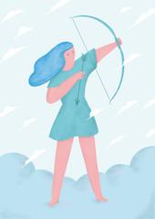 Shoots a bow
