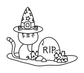 outline cute cat with hat and rip stone