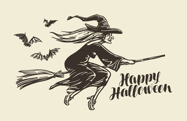 Halloween, greeting card. Old witch flies on broomstick. Vintage sketch vector illustration