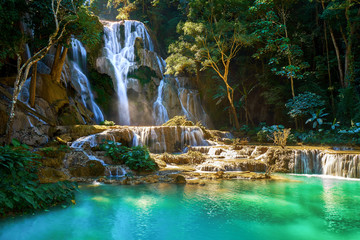 Poster de jardin Cascades Beautiful Kuang Si Waterfall in Laos