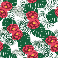 Floral Flower Seamless Pattern Wallpaper Background Wrap Illustration