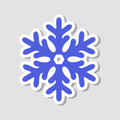 Christmas sticker. New Year blue snowflake, winter icon. Vector illustration.