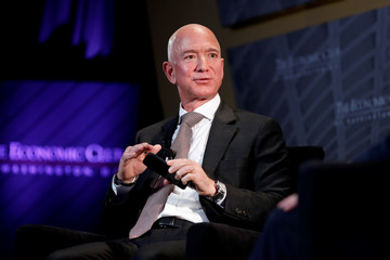 "Jeff Bezos, president and CEO of Amazon and owner of The Washington Post, speaks at the Economic Club of Washington DC's ""Milestone Celebration Dinner"" in Washington"