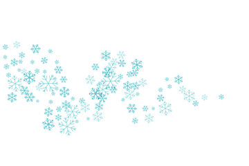 Flying snowflakes on the wavy path.