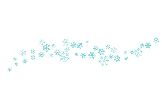 Flying snowflakes on the horizontal lines.