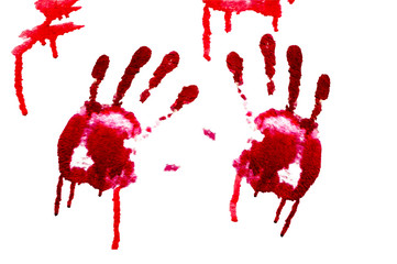 Bloody hand-prints isolated