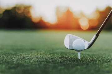 Golf Stick and Golf Ball on Stand on Green Field.