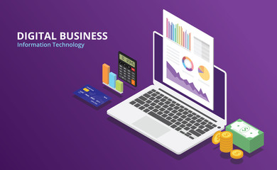 online digital business with isometric style and laptop and glow color and free space text