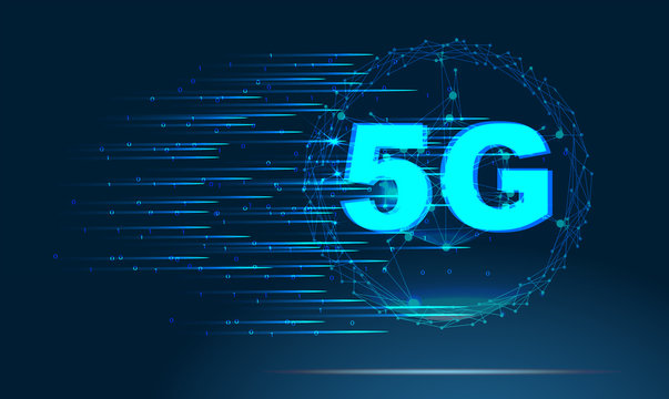 5G new wireless internet wifi connection. Abstract image of a starry sky or space, consisting of points, lines, and shapes in the form of planets, stars and the universe. Low poly vector