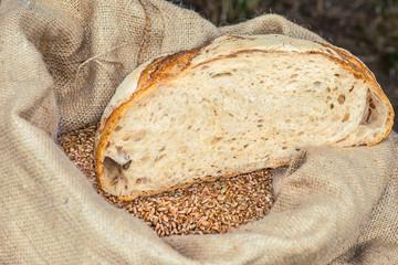 Wheat bread lies on a bag of wheat grains, Kiev, Ukraine.