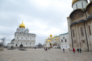 The Cathedral of the Dormition is the largest church in the Moscow Kremlin, Russia