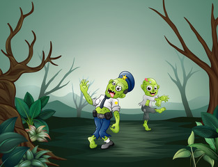 Zombie cartoon scary in dead forest
