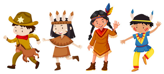 Set of children in costume