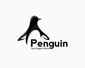 penguin art logo, happy penguin cartoon art logo
