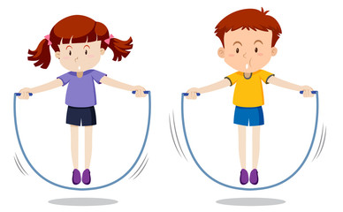Boy and girl skipping