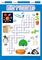 Letter P crossword concept
