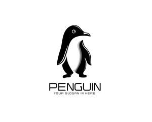 Stand penguin art logo