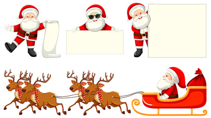 Set of santas and reindeer