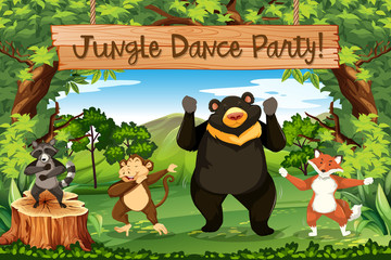 Animals jungle dance party