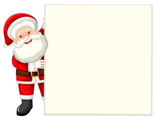 Santa holding white paper