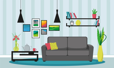Living room interior with furniture. Design of a cozy room with sofa, table, lamps. Vector illustration.