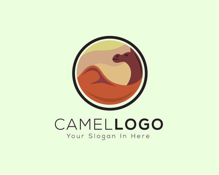 Camel pictures with desert are circled logo
