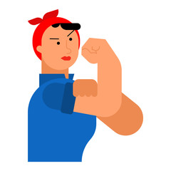 We can do it woman symbol power female. girl showing fist isolated. Vector illustration