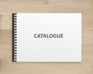 Book binder with empty cover for background on wood. Vector.