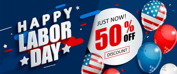 Labor day 50 percent off sale promotion, advertising banner template with American flag balloons. Perfect for marketing, lpaper.voucher discount.Vector illustration .