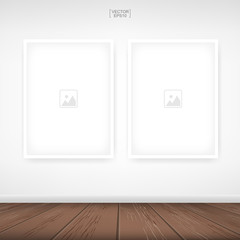 Photo frame or picture frame on white wall background with wooden floor. Vector.