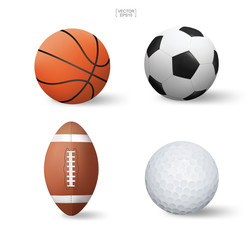 Realistic sports ball set. Basketball, Soccer football, American football and golf. Vector.
