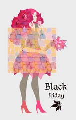 Black friday banner with young fashionista with a haircut in the form of a bouquet of roses. Vector illustration.