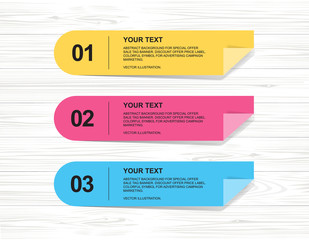 Banner paper tag for business background on wood texture. Vector.