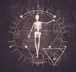 Mystery, witchcraft, occult and alchemy tattoo sign. Mystical vintage gothic geometry thin lines symbol with silhouette of a human skeleton