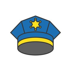 police cap, police related icon editable stroke