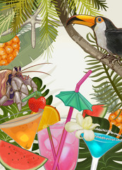 Tropical plants and fruits background