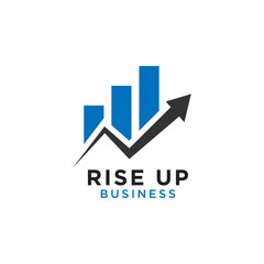 Rising up statistic bar business consulting logo