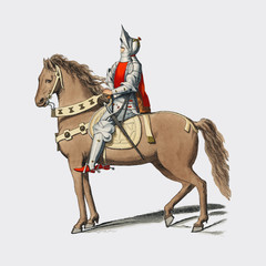 Costume Militaire Florentin, by Paul Mercuri (1860) a portrait of a knight on horse back with full armor. Digitally enhanced by rawpixel.