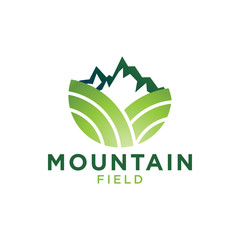 Green mountain and field logo design template